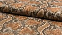Luxury Realistic Leather Snakeskin Fabric Material - DK BROWN